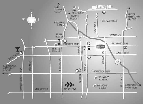 Local Map of Vibe Hollywood Motel in Los Angeles, California, USA